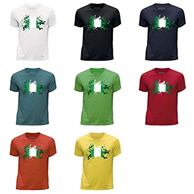 STUFF4 Boy's Round Neck T-Shirt/Nigeria/Nigerian Flag Splat/CS