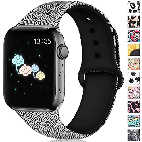 Haveda Floral Bands Compatible with Apple Watch 40mm Series 4 Series 5, Soft Pattern Printed iWatch 38mm Bands Womens Series 3/2/1 Silicone Sport Wristbands for Women Men Kids, S/M Cloud