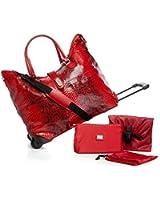 Joy Mangano Rio Collection Python-Embossed Wheeled Duffle - Red