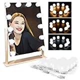 Vanity Mirror Lights Kit, 3 Colors Dimmable with 10 LED Light Bulbs, Hollywood Style Lighting Fixture Strip with Adjustable USB Charging Cable, Fits for Vanity Table Set, Bathroom Makeup Mirror