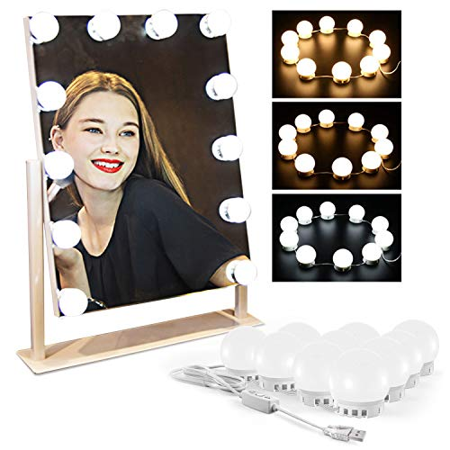 Pukonger Vanity Lights for Mirror, 3 Colors and 5 Level Brightness Adjustable -