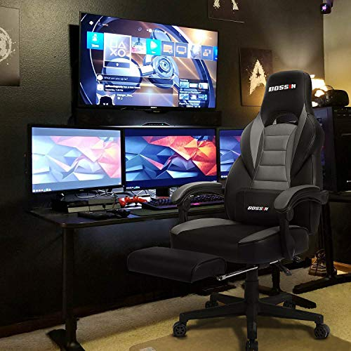 BOSSIN Gaming Chair Office Computer Desk Chair with Footrest and Headrest Racing Game Ergonomic Design Large Size High-Back E-Sports Chair PU Leather Swivel Chair (Gray)