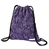 Drawstring Backpack Waterproof Boho Print String Bag Floral Drawstring Bag with Zipper Pockets Women Men Kids