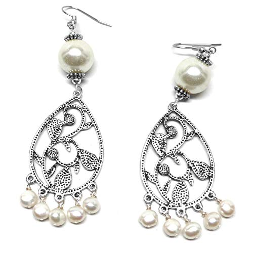 Cultured White Freshwater Pearl and Pearlized Glass Pewter Chandelier Pierced Earrings