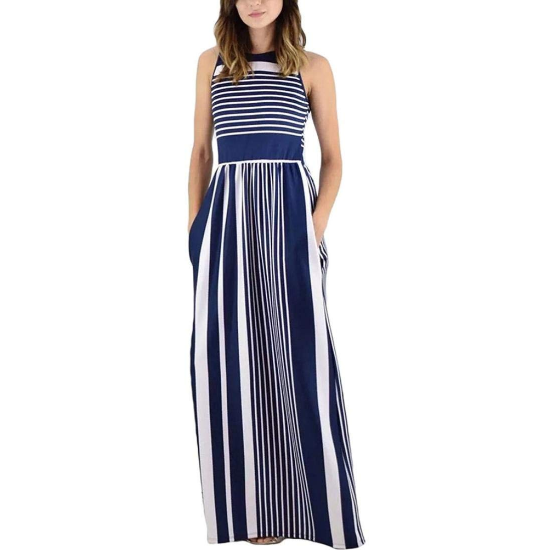 grey Womens Casual Dress Women's Sleeveless Casual Beach Dress Summer Dress Crewneck Striped Long Maxi Dress With Pockets Dresses Wild Tight for Women (color   red, Size   S)