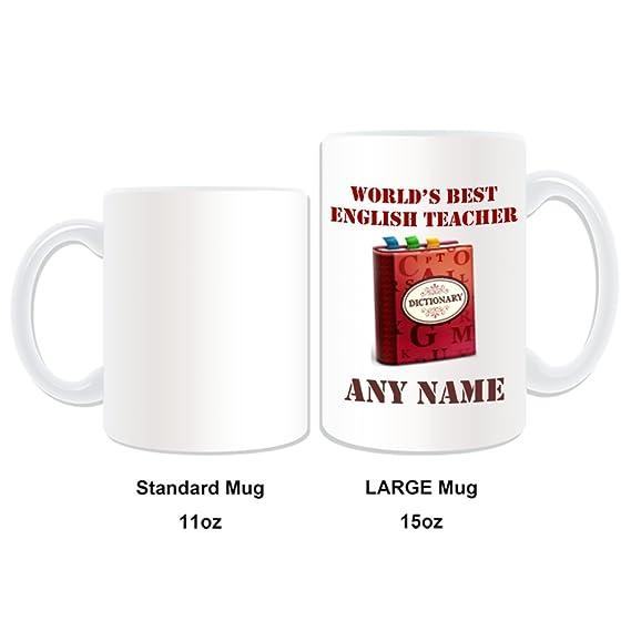De regalo con mensaje personalizado - tamaño grande Worlds Best profesor de Inglés/diccionario y marcadores de libros infantiles taza de desayuno (diseño ...