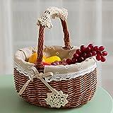 SEESUNG Picnic Basket Fruit Basket Rattan Shopping Basket Storage Basket Egg Basket Woven Basket Basket Basket Basket Shopping Basket Dish Blue, 01