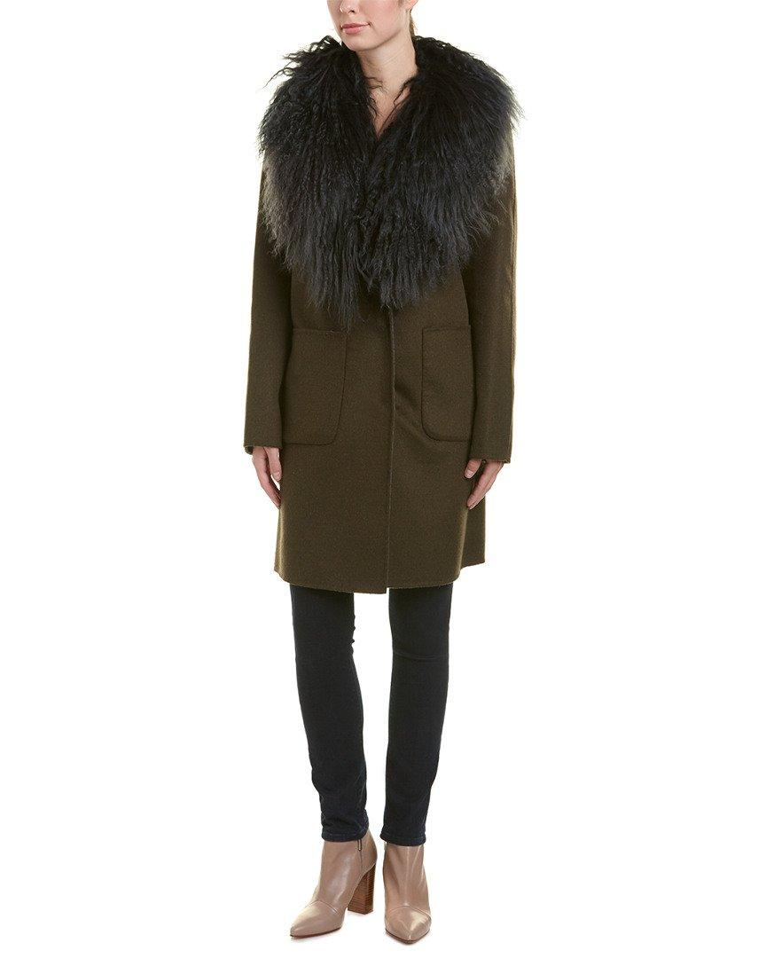 Dawn Levy Womens Cece Wool-Blend Coat, S, Green
