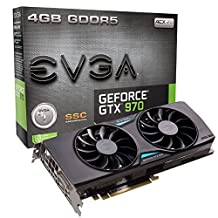 EVGA GeForce GTX 970 4GB SSC GAMING ACX 2.0+, Whisper Silent Cooling Graphics Card 04G-P4-3975-KR