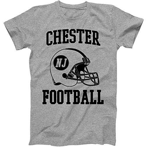 Vintage Football City Chester Shirt for State New Jersey with NJ on Retro Helmet Style Grey Size Large (Chester Nj Shops)