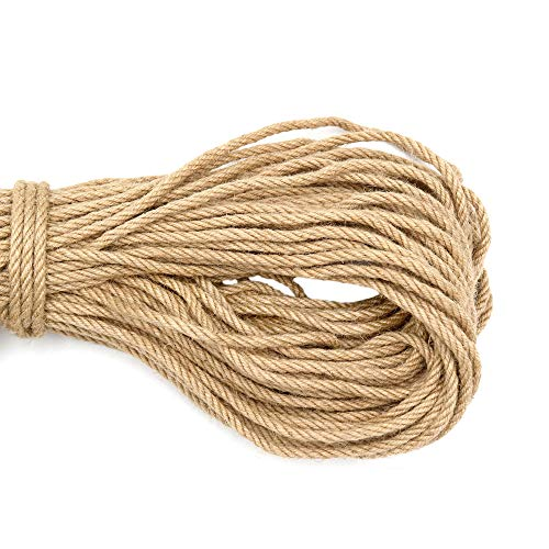 164 Feet 6mm Jute Rope,Natural Jute Twine,4 Ply Heavy Duty Twine for Crafts,Cat Scratch Post,Bundling