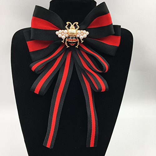 Beatfull Designer Rhinestone Pre-tied Ribbon Bow Tie Bee Brooch Pin Collar Jewelry for Men/Women (long+red+black) (Set Designer Topaz Jewelry)