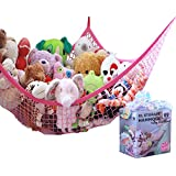 MiniOwls Toy Storage Hammock X-Large Organizer and De-cluttering Solution for Every Girl's Room, Nursery & Playroom (pink, XL)