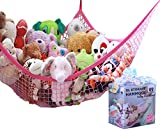 princess bedroom ideas MiniOwls Toy Storage Hammock - Premium Hanging Net for Stuffed Animals Storage or Playroom Organization. Decorative Wall Corner Organizer for Kids Room. (Pink, XL)