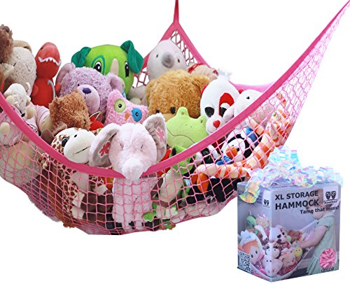 MiniOwls Toy Hammock - Hanging Net for Stuffed Animal Storage or Playroom Organization. Decorative Wall Corner Toy Storage for Kids Room. Pink, XL