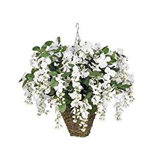 House of Silk Flowers Artificial White Wisteria in Square Hanging Basket 63
