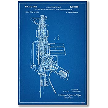Amazon colt peacemaker revolver 1875 official patent blueprint ar 15 assault rifle patent new famous invention blueprint poster malvernweather Choice Image