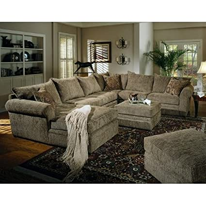 Pleasant Amazon Com Olive Chenille Fabric Sectional Sofa Couch W Pdpeps Interior Chair Design Pdpepsorg