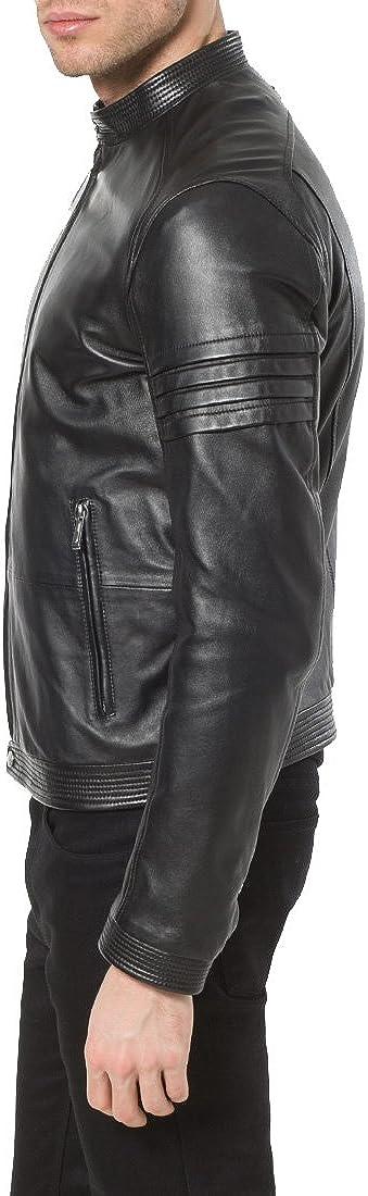 Mens Genuine Lambskin Leather Jacket Slim Fit Moto Biker Jacket T339