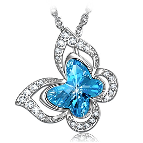 PAULINE&MORGEN ♥ Butterfly Fairy ♥ Butterfly Necklace Swarovski Aqua Blue Crystal for Women Adjustable Nickel Free Pendant Jewelry Gift for Women--You're My Fairy ()