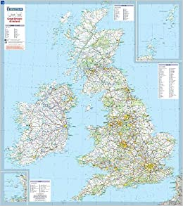 Great Britain and Ireland - Michelin Encapsulated Wall Map ...
