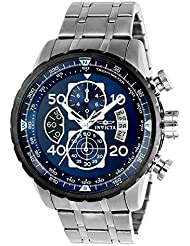 New!!! Invicta 22970 Mens Aviator Blue Dial Steel Bracelet Chronograph Compass Watch with SYB