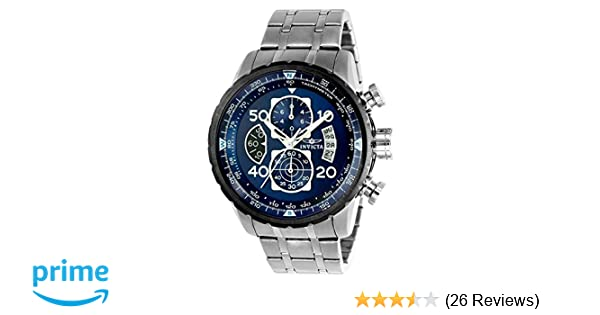 Amazon.com: New!!! Invicta 22970 Mens Aviator Blue Dial Steel Bracelet Chronograph Compass Watch with SYB: Watches
