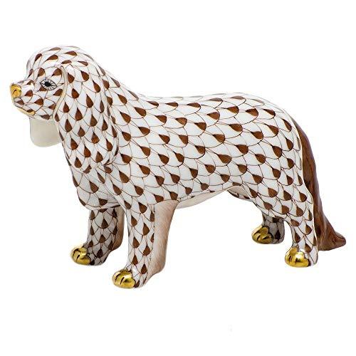 Herend Cavalier King Charles Spaniel Porcelain Figurine Chocolate Fishnet