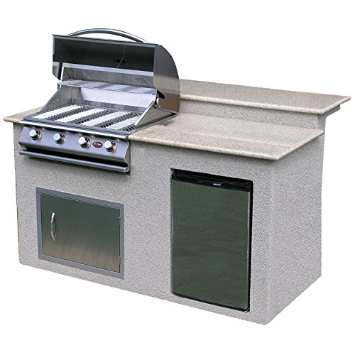 Cal Flame PV 6016-AG Stucco Grill Island With Granite Top And 4 Burner Stainless Steel Gas Grill, 6'/Medium by Cal Flame