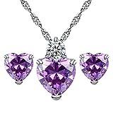 Best Usstore Friends For 3 Bracelets - Usstore® Women's Necklace Earring Sets, Crystal Heart Pendant Review