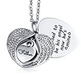 KnSam Urn Necklace for Women Men Heart Wings Father Ash Cremation Memorial Pendant Silver