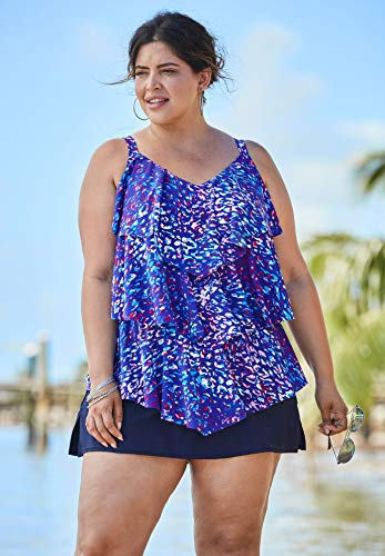 Swimsuits For All Women's Plus Size Tiered-Ruffle Tankini Top - Multi Leopard Print, - Leopard Tiered
