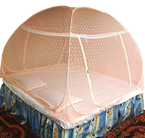 Healthy Sleeping Foldable Polyester King Size / Queen Size Bed Mosquito Net Embroidery (Nut Pink)