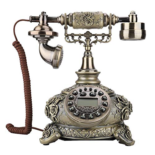 Retro Antique Phone, Wireless European Old Style Classic Card Telephone with Button Dialing, Adjustable Receiver and Volume Control for Office Home Living Room Decor, Wonderful Gift, Bronze Color from fo sa