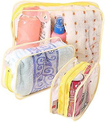 Lumanuby 3 neceseres impermeables PVC transparentes bolsos de higiene monederos para viajes maquillaje bolso para mujeres y hombres amarillo