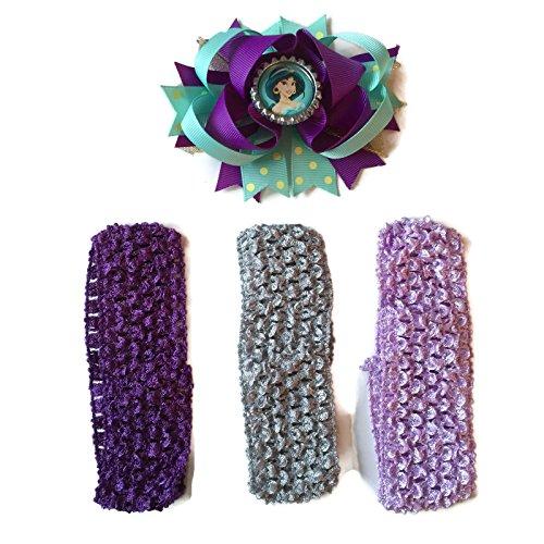 [Rush Dance Cartoon Princess Superhero Bottle Cap Boutique Hair Bow Clip + Band (Aqua Purple Jasmin -] (Dancing Dolls Costumes)