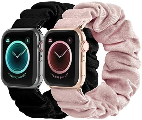 Compatible with Scrunchies Apple Watch Bands 42mm 44mm, Women Cloth Pattern Printed Fabric Wristbands Straps Elastic Scrunchy Band for iWatch Series 6 5 4 3 2 1 SE (Small Black, Pink)