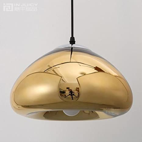 Injuicy Vintage Industrial Copper Brass Bowl Mirror Glass Pendant Lights Shades Retro G4 Led Edison Bulb Ceiling Lamps Fixtures For Bedroom Kitchen