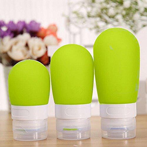 super1798botella de viaje de silicona portátil Loción Champú cosmético recipiente aspiradora, Green 38ml, 38ML