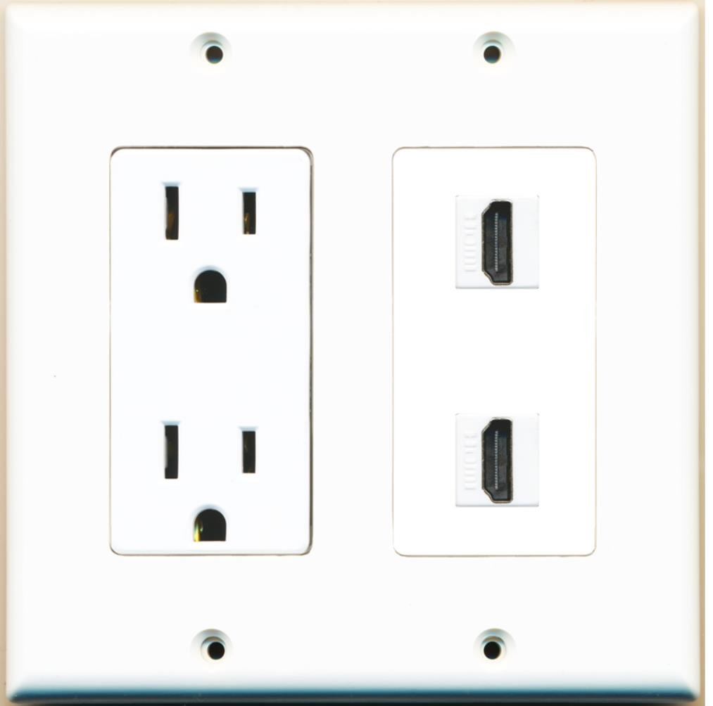 RiteAV - 15 Amp Power Outlet 2 Port HDMI Decora Type Wall Plate - White