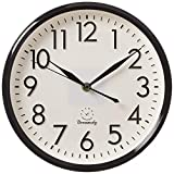 DreamSky 10 inches Silent Non-Ticking Quartz Wall Clock Decorative Indoor Kitchen Clock, 3D Numbers Display,Battery Operated Wall Clocks