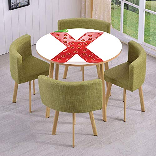 iPrint Round Table/Wall/Floor Decal Strikers,Removable,Vegetarian Typography with Tropical Fruits Healthy Ripe and Sweet,for Living Room,Kitchens,Office Decoration ()