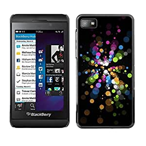 Be Good Phone Accessory // Dura Cáscara cubierta Protectora Caso Carcasa Funda de Protección para Blackberry Z10 // Bubbles Vibrant Black Dark Green Blue