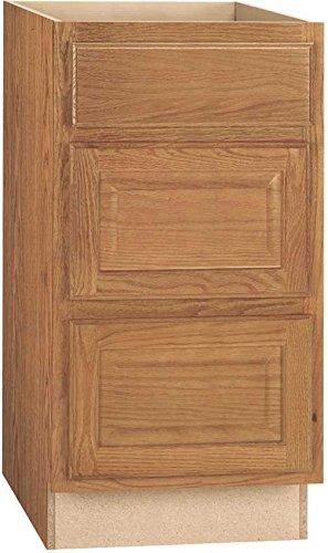 Oak Drawer Base Cabinet (CONTINENTAL CABINETS KITCHEN CABINETS 2478217 Rsi Home Products Hamilton Drawer Base Cabinet, Fully Assembled, Raised Panel, Oak, 24X34-1/2X24