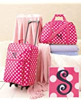 """3-Pc Girl's Monogram Letter """"S"""" Luggage Set Rolling Suitcase Duffel Bag Clutch"""