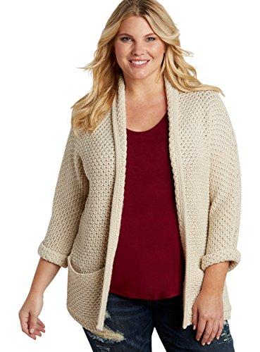 Maurices Women's Plus Size Thick Knit Dolman Cardigan 1 Pita Bread