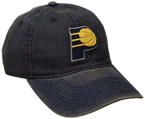 fan products of NBA Indiana Pacers Men's Raised Chain Stitch Adjustable Slouch Hat, Navy, One Size