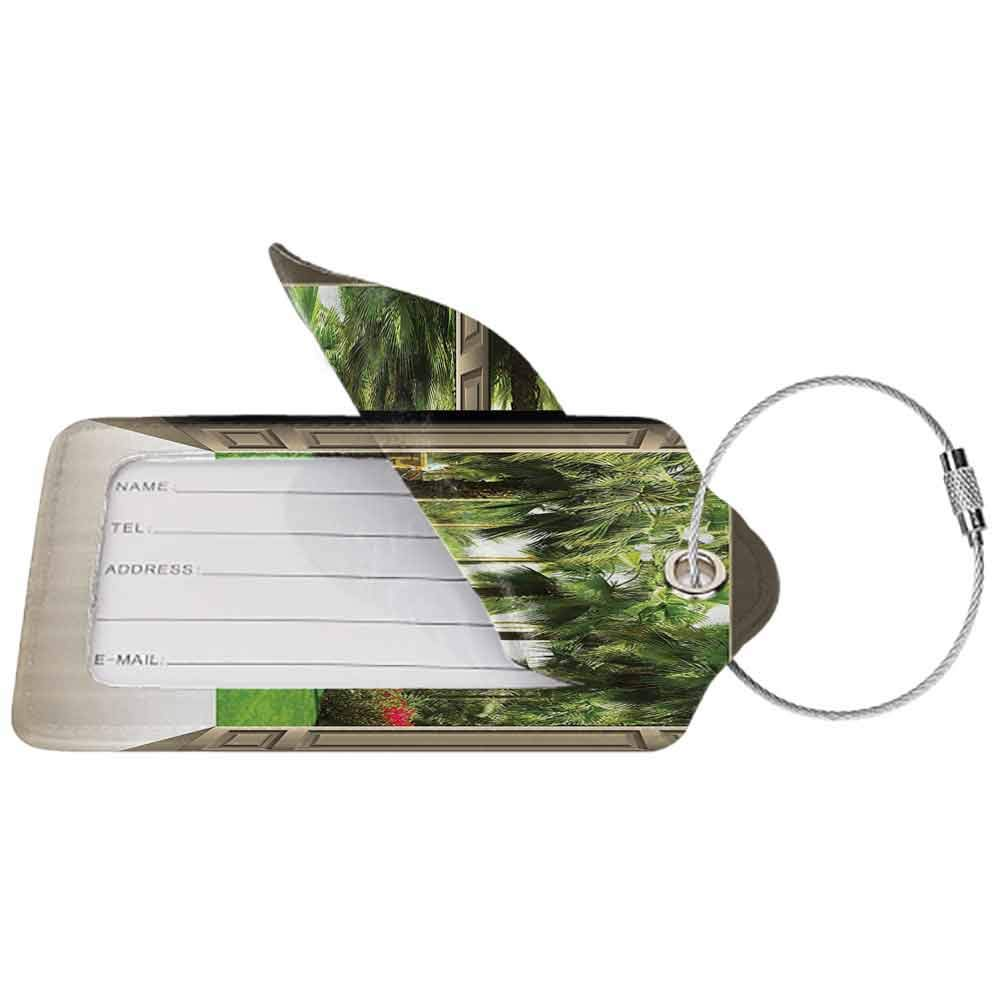 Small luggage tag Tree of Life Decor Collection Doors Open to a New World Freedom Palm Trees Exotic Flowers Lawn Summer Image Quickly find the suitcase Green Ivory W2.7 x L4.6