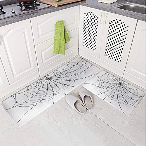 2 Piece Non-Slip Kitchen Mat Rug Set Doormat 3D Print,Monochrome Design Elements Catching Network,Bedroom Living Room Coffee Table Household Skin Care Carpet Window Mat, -