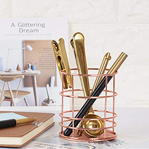 Elaco Metal Pen Pencil Holder Oval Shape Desk Stationery Organizer Wired Mesh Design Functional and Attractive, Durable and Sturdy.You Can Put It On Your Workplace,Nightstand in Bedroom